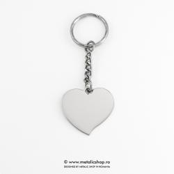 Breloc fotogravura inima inox