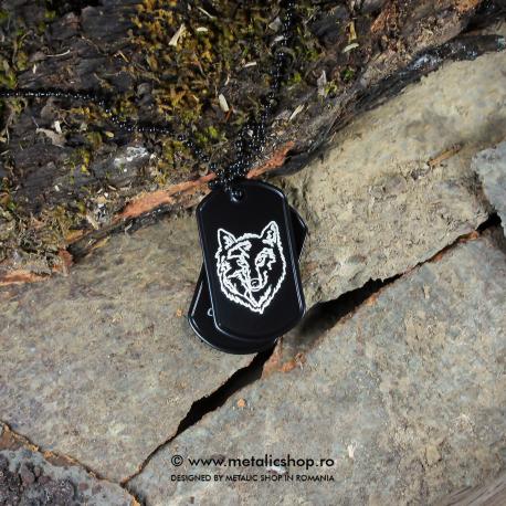 Set medalion Lup inox negru
