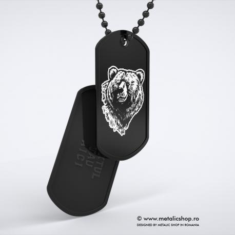 Set medalion Urs inox negru