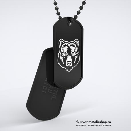 Set medalion Urs 2 inox negru