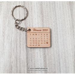 Breloc Love Calendar lemn