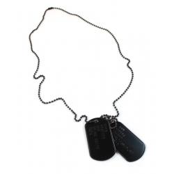 Set medalion militar inox negru